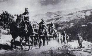 Baterija srpske vojske zauzima položaj na Ceru