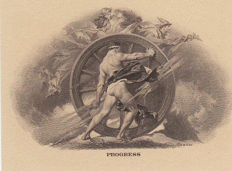"""Vinjeta """"Progress"""" (napredak) koja je iskorišćena kao glavni motiv na licu."""