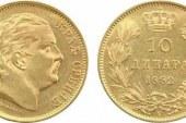 Zlatnik 10 dinara 1882. – Kralj Milan Obrenović