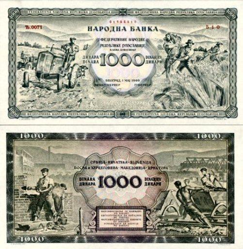Novčanica od 1000 dinara iz 1949. godine služila je kao model