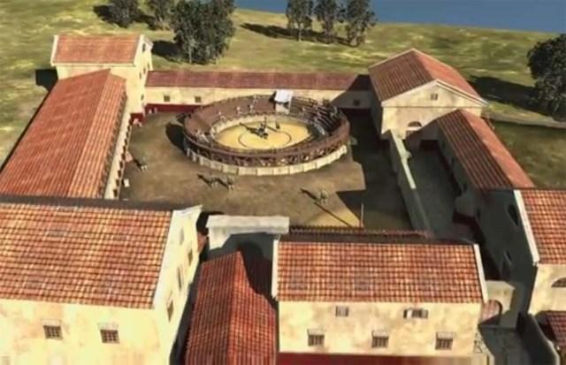 Ilustracija izgleda škole za gladijatore pronađene u istočnoj Austriji