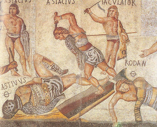 Prikaz gladijatorskih borbi na mozaiku iz 4. veka