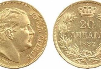 Zlatnik 20 dinara 1882. – Kralj Milan Obrenović