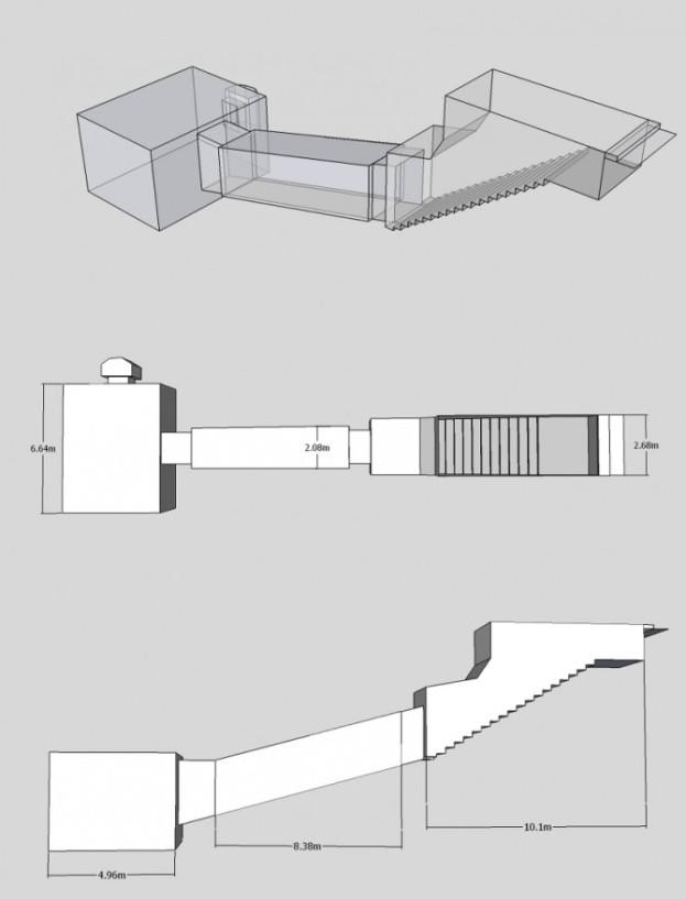 Izometrička projekcija misteriozne egipatske faraonske grobnice KV55.
