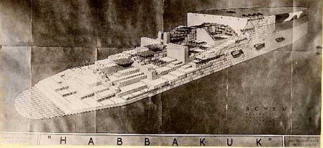 Izometrijski presek planiranog nosača aviona krštenog imenom Habakkuk (u nekim varijantama  Habbakuk), ledene grdosije koja je trebala da ubrza završetak Drugug svetskog rata.