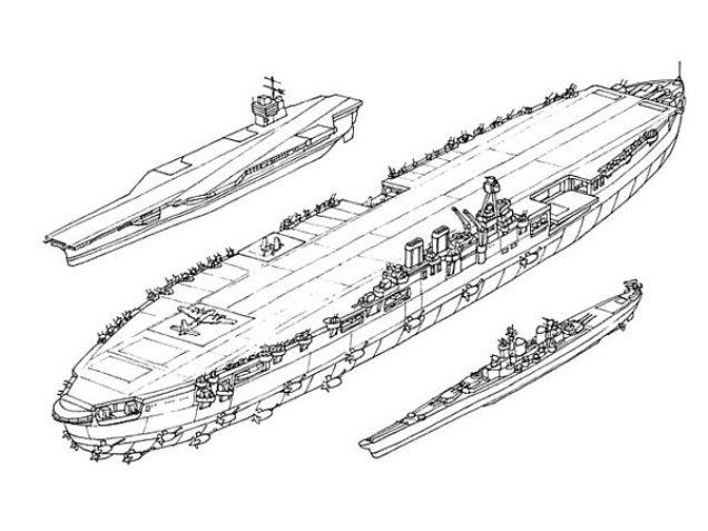 Poređenje veličine nosača aviona Habakkuk sa tada korišćenim savezničkim vojnim brodovima. Obratite pažnju na dimenzije nosača klase Illustrious, kakve je Kraljevska mornarica koristila tokom II. sv. rata (levo), i tipične krstarice iz istog razdoblja (desno).