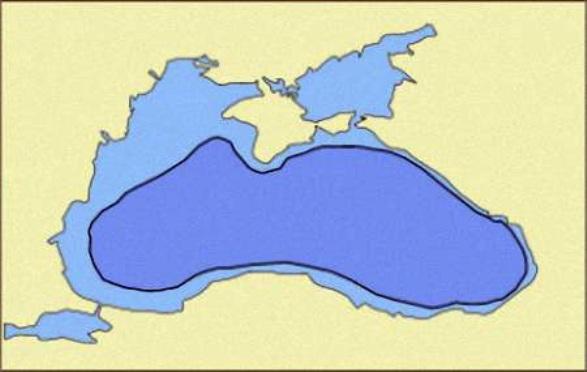 Crno more nekad (tamno plavo) i sada (bledo plavo)