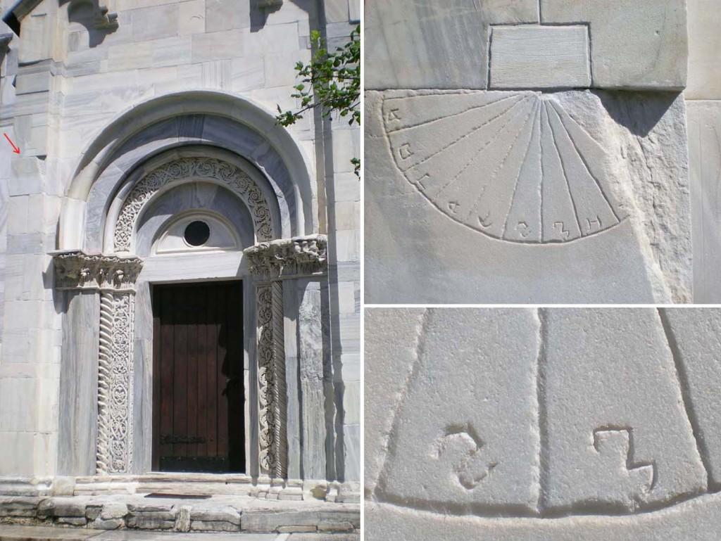 Slika 1. Južni portal Bogorodičine crkve (strelicom je označeno mesto sunčanog časovnika) (levo); sunčаni časovnik (desno, gore); detalj časovne skale sa sektorima za 6. i 7. čas (desno, dole) (foto. M. Tadić)