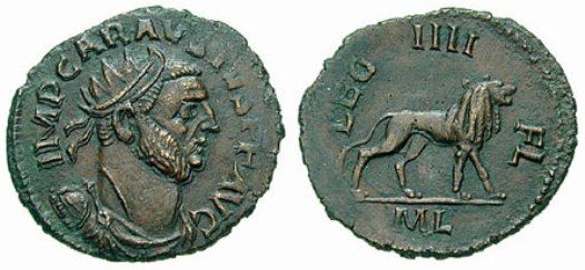 Karausijusov novac s lavom, simbolom legije