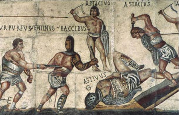 Detalj sa mozaika koji prikazuje gladijatore, Vila Borgeze