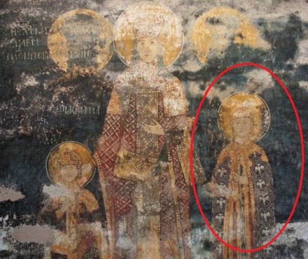 Freska Dušanove porodice iz Dečana, na kojoj su prikazani njegov sin Uroš, supruga Jelena i još jedna figura