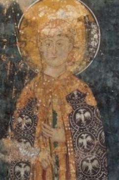 Deo freske iz Dečana na kojoj je mlađa figura, koja se nalazi sa leve strane kraljice Jelene