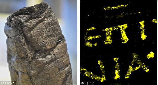 Svici iz Herkulaneja su karbonizovani u krhke blokove (levo), ali nova analiza fragmenata otkrila je mastilo bazirano na metalu koje se koristilo za pisanje svitaka. X-zraci otkrivaju natpis (desno) po prvi put nakon 2000 godina. To sugeriše da se mastilo bazirano na metalu koristilo vekovima ranije nego što se to do sada verovalo