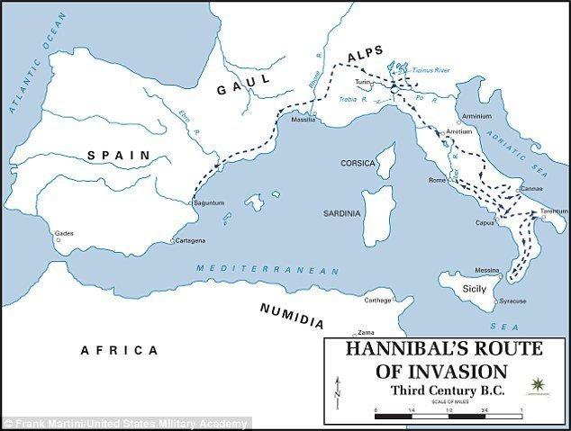 Tačna ruta Hannibalovog puta preko Alpa je bila predmet velike rasprave među naučnicima, a jedna od ruta toga puta je prikazana na slici