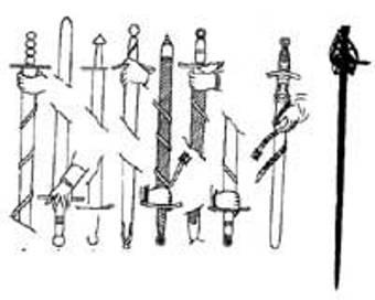 """Mač modela """"skijavone"""" (slovenski mač) bio je jako cenjen u Evropi 16. veka. Nosila ga je garda mletačkog dužda. Odlikuje ga balčak koji se završava """"mačjom glavom"""", štitnik za celu ruku, i uski žljebovi po sredini. Mač je jednosekli, a pri vrhu obostrano naoštren. Ovo oružje nastalo je od mača koji je kovan i """"dizajniran"""" u Srbiji. Srpski štitnik je bio jednostavniji, krstast, povijenih krakova na dole"""