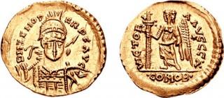 Odoakrov zlatnik iskovan u u ume istočnorimskog cara Zenona