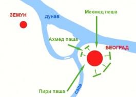 Strateška mapa opsade i pada Beograda 1521.