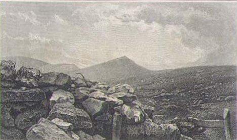 Gravura sa prikazom Kožuha, Veternika, Dobrog Polja i Kajmakčalana, središnji element naličja.