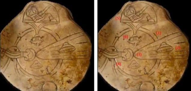 """[ 1 ] Dva kruga u blizini centra artefakta izgledaju kao da čine Zemlju . [ 2 ] Izgleda kao neka vrsta letelice . [ 3 ] Čini se kao masivni kometa ili asteroid koji je krenuo prema Zemlji . [ 4 ] Izgleda kao posebno dizajnirana letelica sposobna za skretanje velikog kometa ili meteora , kao što je NASA – in """" Deep Impact """" . [ 5 ] Čini se kao astronaut koji kontroliše letelicu . [ 6 ] Izgleda kao inteligentno kontrolisana letelica ."""