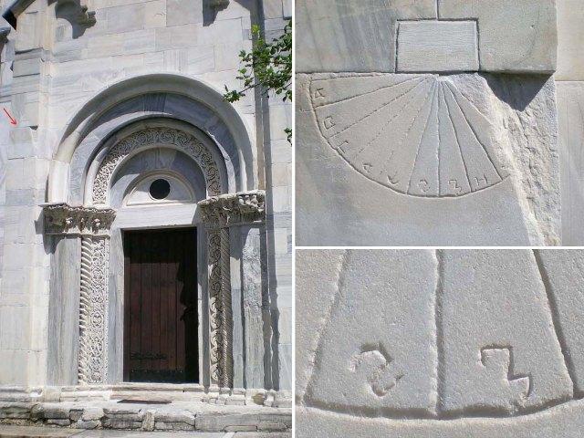 Slika 1. Južni portal Bogorodičine crkve (strelicom je označeno mesto sunčanog časovnika)(levo); sunčаni časovnik (desno, gore); detalj časovne skale sa sektorima za 6. i 7. čas (desno, dole) (foto. M. Tadić)