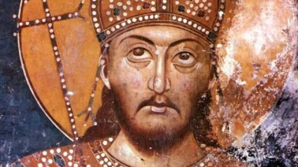 Car Dušan, freska iz manastirske crkve u Lesnovu