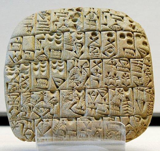 Kupoprodajni ugovor pisan klinastim pismom na glinenoj pločici iz Sumera, oko 2600 pr. n. e. Luvr, Pariz
